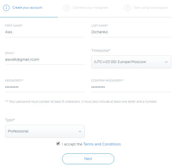Регистрация iconosquare