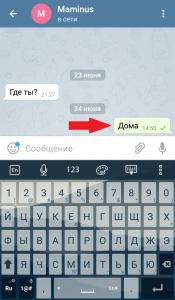 Сообщение в Telegram