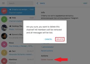 Как удалить канал в Телеграмм с компьютера