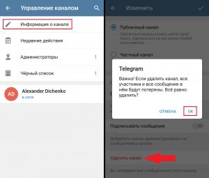 Удалить канал в Телеграмм